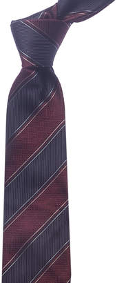 Canali Burgundy & Navy Stripe Silk Tie