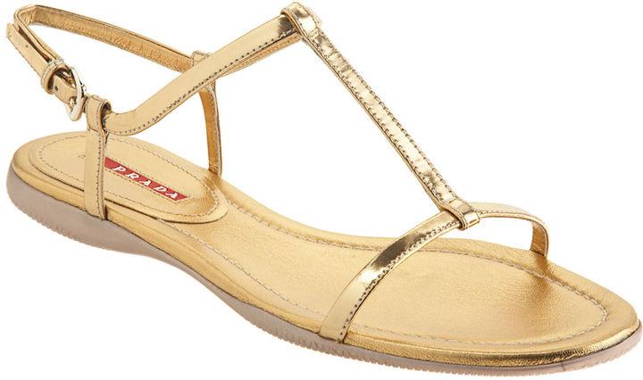 PRADA T-Strap Flat Sandal - Gold