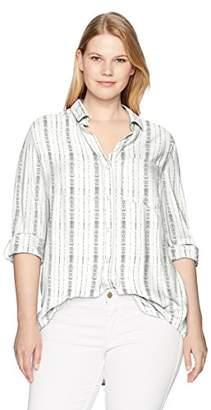 Velvet Heart Women's Plus Size Elisa Tab Sleeve High Low Shirttail Hem