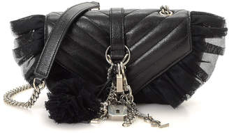 Saint Laurent Leather & Tulle Chain Strap Shoulder Bag - Vintage