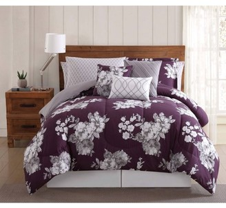 Style 212 Purple Garden Floral 12PC Bed Ensemble
