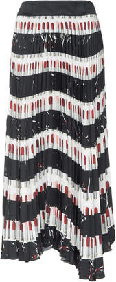Prada Printed Plissé-Satin Midi Skirt
