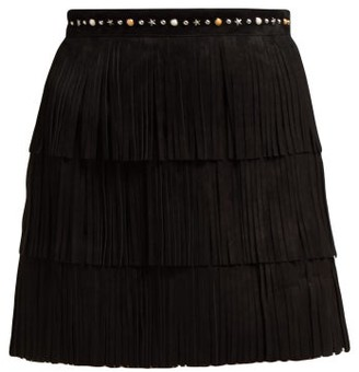 Miu Miu Fringed Suede Mini Skirt - Womens - Black
