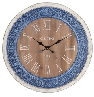 3.1 Phillip Lim DecMode Decmode Rustic Inch Distressed Metal And Wood Round Wall Clock