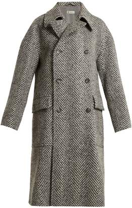 CONNOLLY Double-breasted herringbone oversized wool coat