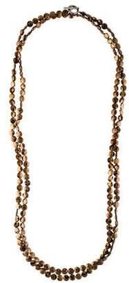 Brunello Cucinelli Hematite Long Bead Strand Necklace