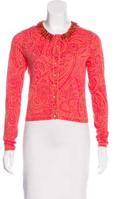 Magaschoni Embellished Cropped Cardigan w/ Tags