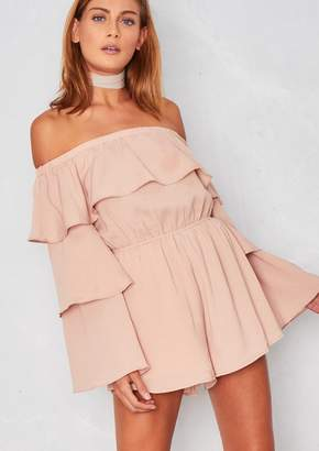 8618853a41 Missy Empire Missyempire Libby Nude Ruffle Bell Sleeved Playsuit