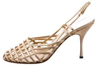 Prada Woven Leather Sandals Gold Woven Leather Sandals