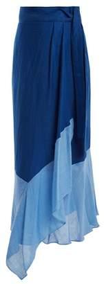 Diane von Furstenberg Contrast Hem Linen Blend Wrap Skirt - Womens - Blue Multi