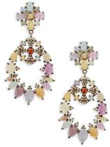 Champagne Diamond, Multicolored Sapphire and Sterling Silver Statement Earrings