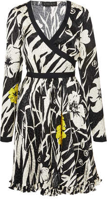 Etro Zebra-Print Hammered Silk Wrap Dress