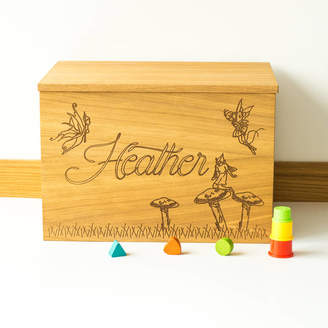 Little and Wild Personalised Fairies Wooden Toy Box