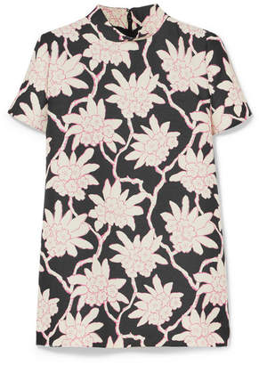 Valentino Printed Wool And Silk-blend Top