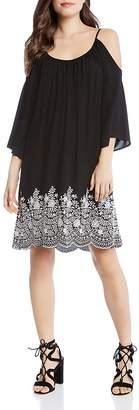 Karen Kane Cold-Shoulder Floral Embroidered Dress