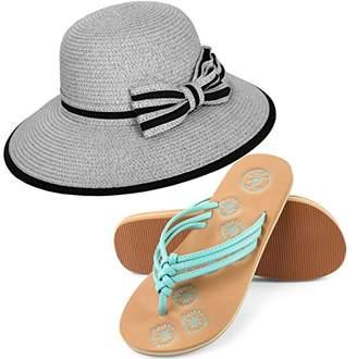 Aerusi Panama Styled Woven Straw Hat and Foam Flip Flop Sandals Bundle Set