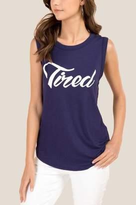 francesca's Tired Sleeveless Graphic Tee - Navy