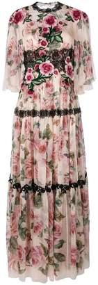 Dolce & Gabbana rose maxi evening dress