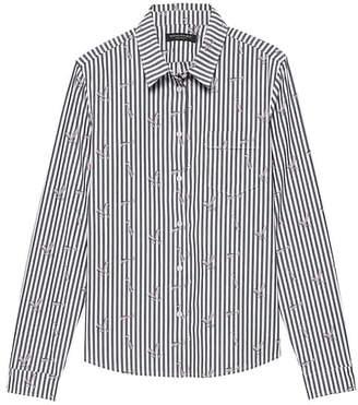 Banana Republic Petite Quinn Straight-Fit Champagne Stripe Shirt