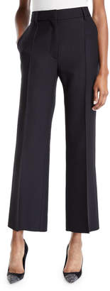 Valentino Front-Pleated Crepe Couture Cropped Pants