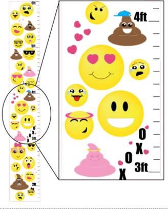 Presto Chango Decor Emoji Growth Chart Wall Art / Vinyl Removable Adhesive Emoji Wall Decals Stickers Children's Decor