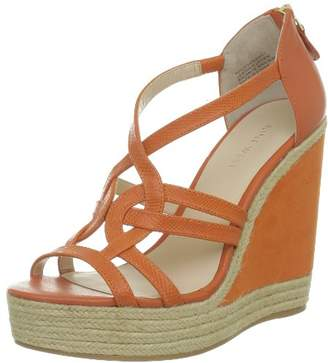 Nine West Women's Nwloverboy-Leather Open Toe Sandals Orange Size: 5