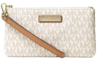 Michael Kors NEW White Ivory PVC Signature Jet Set Item Wristlet Wallet