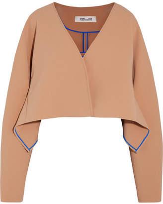 Diane von Furstenberg Cropped Crepe Jacket - Camel