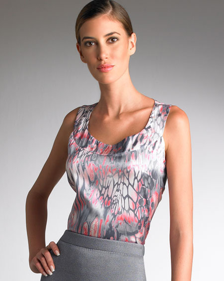 St. John Collection Printed Stretch-Silk Shell