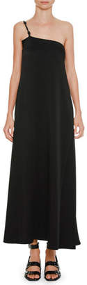 Jil Sander Braided-Strap One-Shoulder Satin Slip Dress