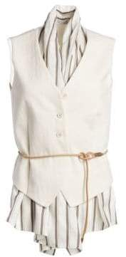 Brunello Cucinelli Women's Belted& Lined Vest Top - White Multi - Size XS