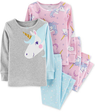 Carter's Baby Girls 4-Pc. Snug-Fit Cotton Unicorn Pajamas Set