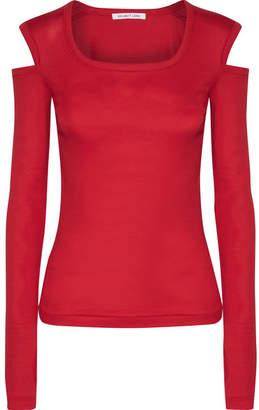 Helmut Lang - Cold-shoulder Cotton-jersey Top - Red $160 thestylecure.com