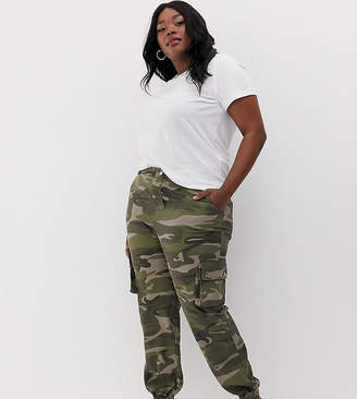 New Look Plus Curve camo utility pants in green pattern