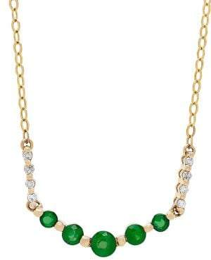 Lord & Taylor 14K Yellow Gold, Emerald & Diamond Chain Necklace