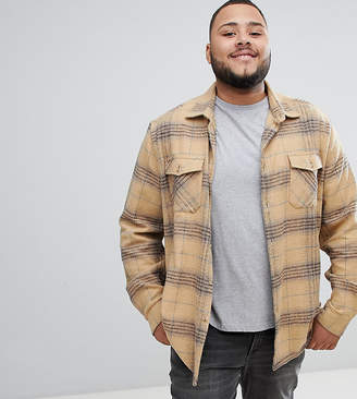 Asos DESIGN Plus brushed check overshirt in camel with double pockets