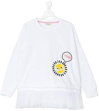 Fendi sun embroidery ruffled sweatshirt