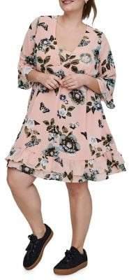 Junarose Plus Amara Quarter-Sleeve Short Dress