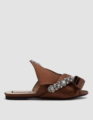 N°21 Satin Flat Bow Mule with Crystal Embroidery