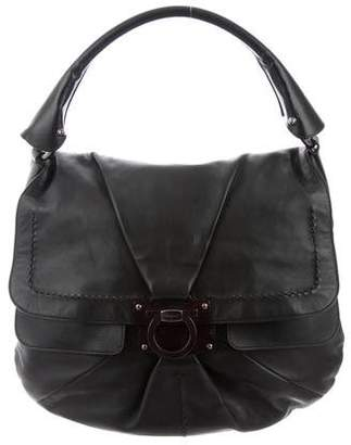 Salvatore Ferragamo Leather Flap Hobo