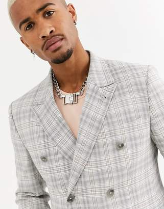 Asos Design DESIGN skinny double breasted linen blazer with check in gray