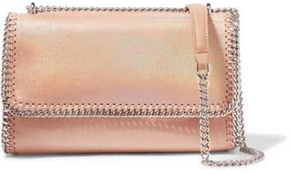 Stella McCartney Flo Iridescent Faux Brushed-leather Shoulder Bag - Peach