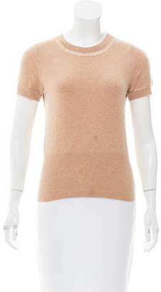Paule Ka Open-Knit-Trimmed Short Sleeve Sweater