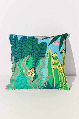 Urban Outfitters Jarmél By Jarmel Exclusive Wild Buddies Embroidered Throw Pillow