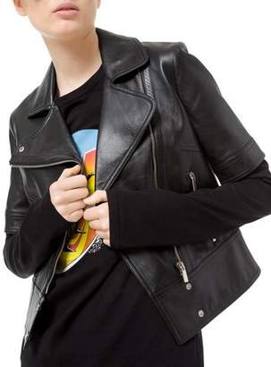 Michael Kors Short-Sleeve Plonge Leather Moto Jacket
