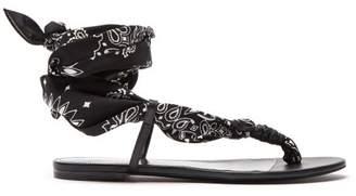 Saint Laurent Dallas Bandana Print Wrap Sandals - Womens - Black White