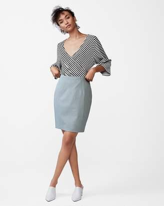Express Petite High Waisted Textured Seamed Pencil Skirt