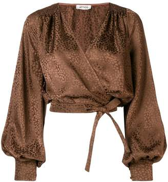 ATTICO cropped wrap front blouse
