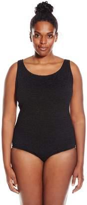 6fca7a20f97 Penbrooke Women s Plus-Size Krinkle Chlorine-Proof Cross Back Maillot One  Piece Swimsuit