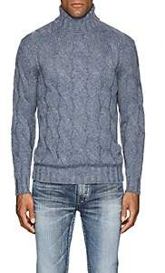 Barneys New York Men's Cable-Knit Wool-Mohair Turtleneck Sweater-Md. Blue